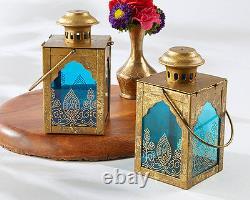 10 Boho Indian Gold Blue Glass Lantern Candle Holder Wedding Table Decor Favor
