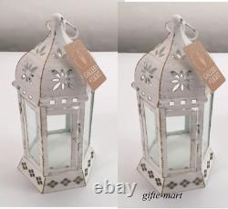 10 Distressed 10 WHITE shabby Candle holder Lantern wedding florist centerpiece