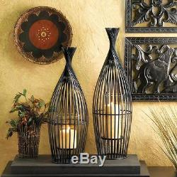 10 Large Wire Vase & Glass Pillar Candle Holder Centerpiece Decor10015425
