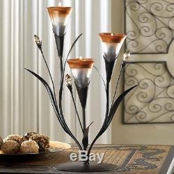 10 Pc Lot Tealight Candelabra Dawn Lily Glass Cups Candle Holder Accent 10015811