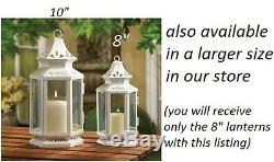 10 White Victorian shabby whitewashed Lantern Candle holder wedding centerpiece