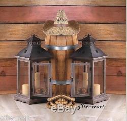 10 large rustic wood & metal 18 Candle holder Lantern wedding table centerpiece