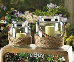 10 nautical rope 6 lantern Glass mason Jar Candle holder wedding centerpiece
