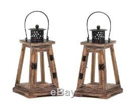 10 rustic brown wood metal 12 Candle holder Lantern wedding table centerpiece