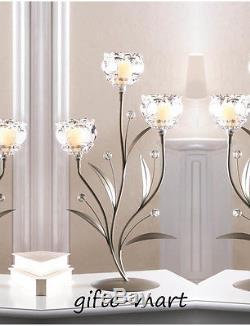 10 silver crystal clear flower 19 candelabra Candle Holder wedding centerpiece