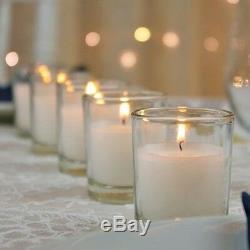 100 Glass Tealight Holder +10hr White Wax Votive Candle Wedding Table Decoration