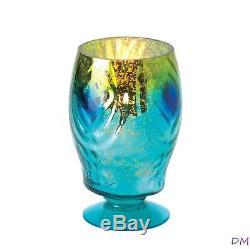 12 Peacock Blue Glass Hurricane Lantern Candle Holders Wedding Centerpieces