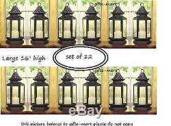 12 black colonial western stagecoach Lantern Candle holder wedding centerpiece