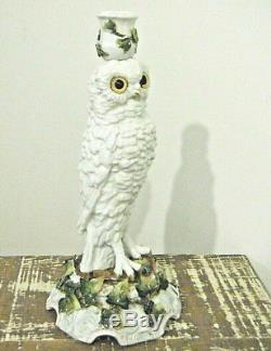 13in Antique Majolica French Pottery Porcelain Owl Ivy Candle Holder Glass Eyes