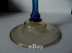 15 CANDLESTICK CANDLE HOLDER, Rare Art Glass Celeste Blue Amber Steuben 2956