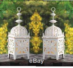 15 white Moroccan scrollwork lantern Candle holder wedding table centerpiece