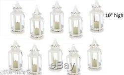 18 White shabby whitewashed stagecoach Lantern Candle holder wedding centerpiece