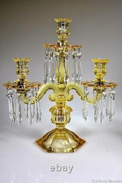 1929 1937 No. 301 OLD WILLIAMSBURG Heisey SAHARA Pair Three Light Candelabrums