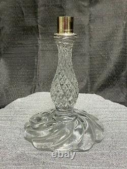 1930's Unique 10 Tall CRYSTAL GLASS CANDLE HOLDER CANDELABRA WITH 10 PRISMS
