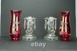 1940's Clear Glass Koi Dolphin Candle Stick Lantern with Prisms and Red Globe