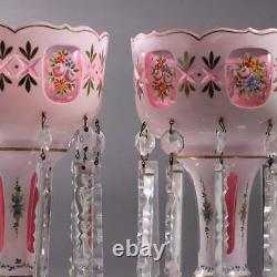 19CPAIR BOHEMIAN ENAMELED ART CASED GLASS WHITE TO CRANBERRY LUSTRES w PRISMS
