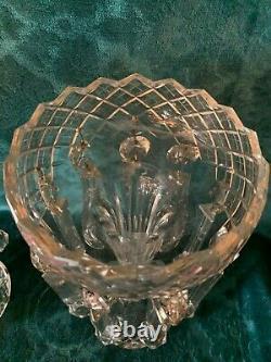 19th Cen English Irish Cut Glass Crystal Girondles Lusters