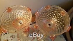 2 ANTIQUE VENETIAN MURANO candelabra, PINK & GOLD FLECK ART GLASS
