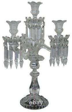 2 Baccarat Medallion Crystal 4 Light Candelabra Candle Holder Bobeches Pair 19