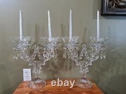 2 Cambridge Glass Crystal Keyhole 2 Lite Candleholder Candelabra ULTRA RARE