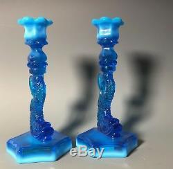 (2) Dolphin Koi Opalescent Blue Candlesticks Candle Holder Sandwich Glass 9.5