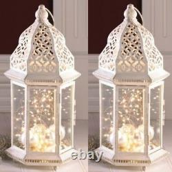 2 Large Distressed Lantern 16 in Tall White Candle Holder Wedding Centerpieces