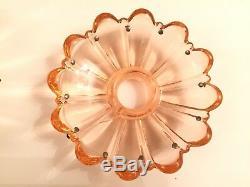 2 Rare 4-1/4 Antq Baccarat Glass Candelabra Candlestick Bobeches 12 Prism Pins