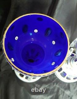 2 STUNNING BOHEMIAN CUT TO COBALT BLUE CRYSTAL MANTLE LUSTERS WithPRISMS PAINTED