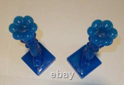 2 Vintage Imperial Mma Opaline Blue Glass Koi Fish Dolphin Candlesticks