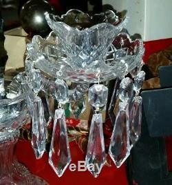 #2 Vintage WATERFORD crystal Candelabra candle holder Lismore spire prism signed
