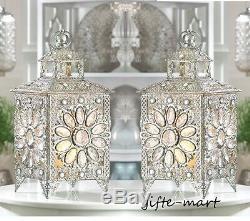 2 silver jewel gem crystal flower bling clusters Moroccan Lantern Candle holder