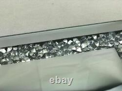 25x25cm SQUARE JEWELLED DIAMANTE MIRRORED CANDLE PLATE TEALIGHT HOLDER MIRROR