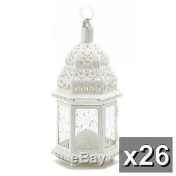 26 LARGE White chic Moroccan shabby Candle holder lantern wedding centerpiece