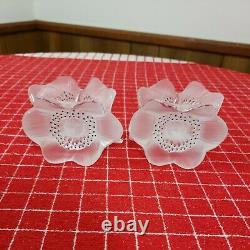 2X Lalique France Crystal 3 Anemone Flower Candlestick Candleholders Signed