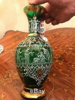 3 Vase Urn & Candle Holder Bohemian Glass Italian Murano & Capodimonte Urn Vase