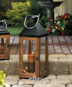 3 large brown wood & metal 20 tall Candle holder Lantern lamp wedding decor