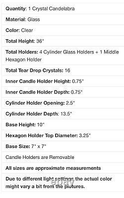 36 Tall 4 Arm PREMIUM Crystal Glass Candle Holder