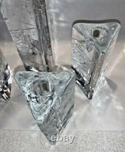 (4) Iittala Arkipelago Glass Candle Holder Triangle 9 & 5.25 Timo Sarpaneva