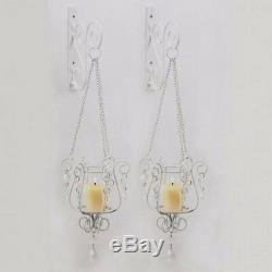 4 Pendant Sconce White Ivory Hanging Candle Holder Wall Decor