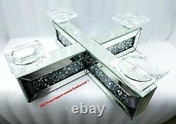 4 Pillar Candle Holder Sparkly Silver Mirrored Diamond Crush Crystal X Shape