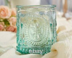 48 Vintage Embossed Aqua Blue Glass Tea Light Candle Holder Bridal Wedding Favor