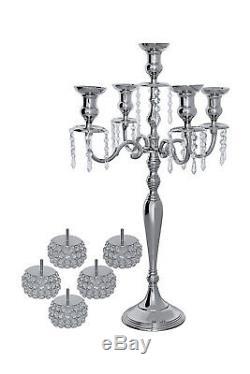 5 Arm Crystal Globe Candelabra Wedding Centerpieces Votive Candle Holders 80CM