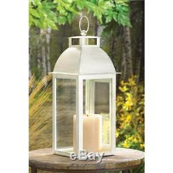 5 Distressed pearl WHITE shabby Candle Lantern holder wedding table centerpiece