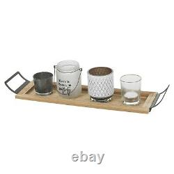 5 Pcs Glass Tealight Candle Holders Set With Long Wooden Display Tray Home Décor