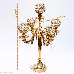 5 arms 24inch metal floor candle holders curve Style Gold color Crystal Glass