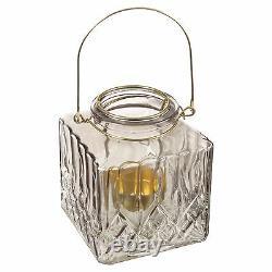 5x Tea Light Candle Holder Square Romantic Wedding Pool Night Sun Glass Coloured
