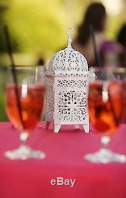 6 lot white Moroccan scrollwork Lantern Candle holder wedding table centerpiece