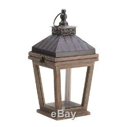 8 Bungalow Rustic Candle Holder Lantern Wood & Glass 14.5 Tall New10015422
