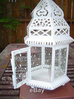 8 bulk large White shabby 15 Moroccan Candle Lantern holder wedding centerpiece