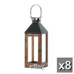 8 large 20 brown wood metal Candle holder lantern wedding table centerpiece